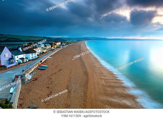 View along sandy beach in Torcross, South Devon, England, UK, Europe