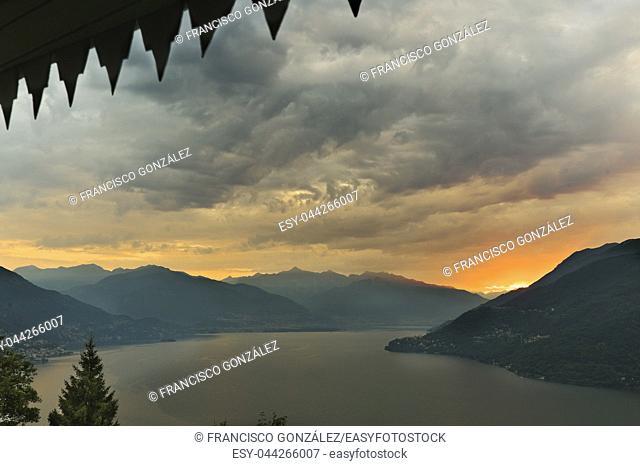 Sunrise in front of Lake Maggiore in the beautiful town of Cannobio, Italian comune of the province of Verbano-Cusio-Ossola, Piedmont region