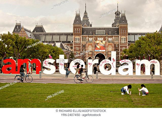 The The I Amsterdam letters on Museumplein or museum square in Amsterdam in autumn