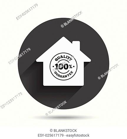 Construction works. 100% quality guarantee sign icon. Premium quality symbol. Circle flat button with shadow. Vector
