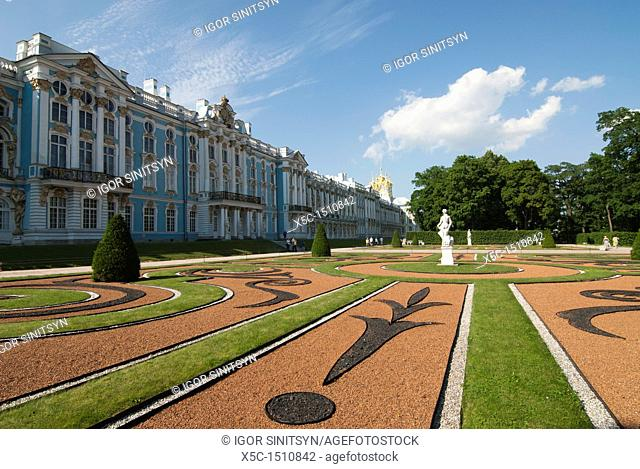 Lown at front of the Catherine Palace in Pushkin  St Petersburg, Russia