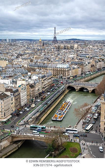 Birds eye view of Paris, France. Notre Dame - Paris, France