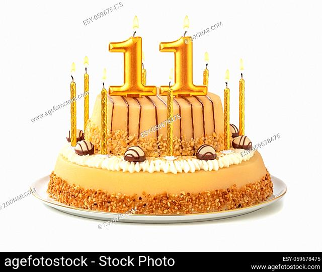 Festive cake with golden candles - Number 11