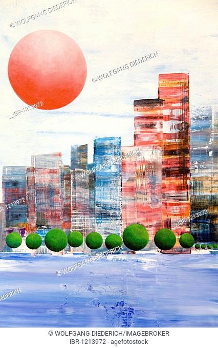 Sunset over Manhattan, New York, acrylic painting, artist Gerhard Kraus, Kriftel, Germany