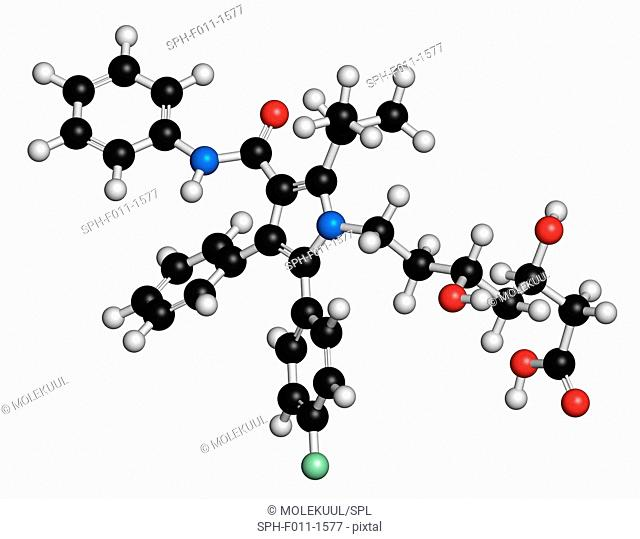 Atorvastatin cholesterol lowering drug (statin class), chemical structure. Atoms are represented as spheres with conventional color coding: hydrogen (white)