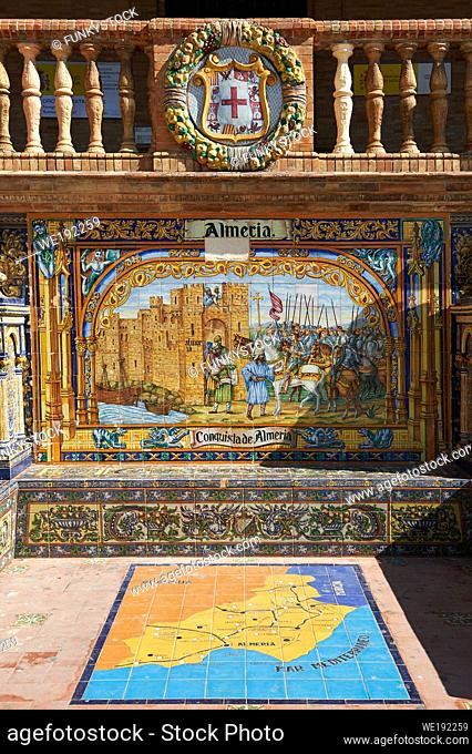 The Almera tiled Alcove along the walls of the Plaza de Espana in Seville built in 1928 for the Ibero-American Exposition of 1929, Seville Spain