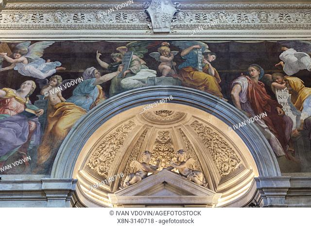 Fresco painting (1514) by Raphael, Church of Our Lady of Peace interior, Santa Maria della Pace, Rome, Lazio, Italy