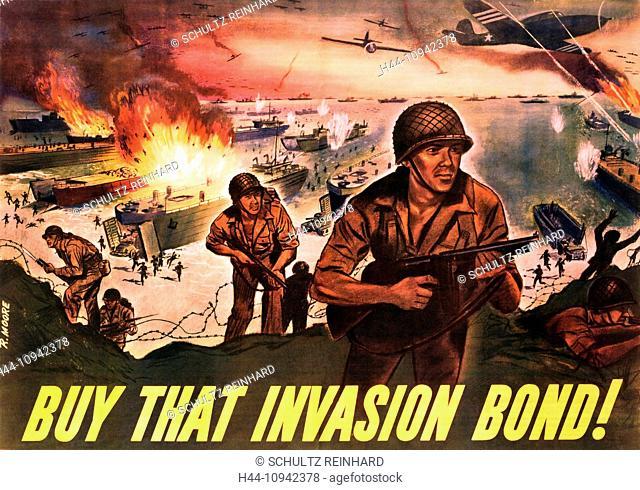 World War II, Second World War, world war, war, poster, Propagana, propaganda poster, USA, American, invasion, soldier, ships, airplanes, explosion, fight