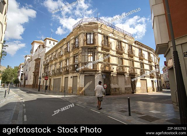 Lorca Murcia Spain historic old city in summer. Ruined building after the earthquake