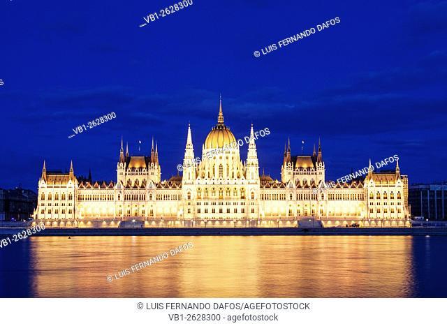 Budapest Parliament building at blue hour. Hungary