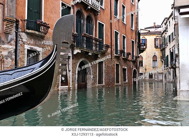 Gondola front and Canals, Venice, Italy, Europe