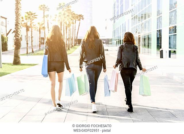Back view of three friends with shopping bags
