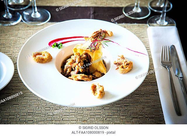 Gourmet fried seafood dish