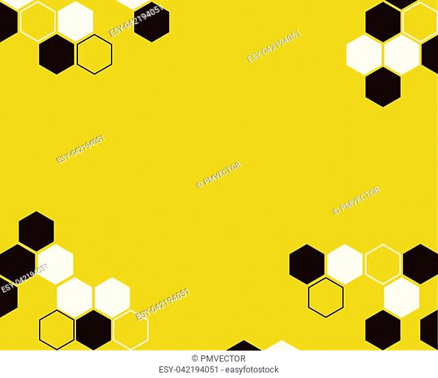 Hexagon bee hive brown with white color vector abstract yellow background design