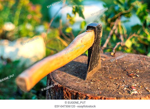 Old axe in the log and wooden chips after cutting firewood and cleaning the garden
