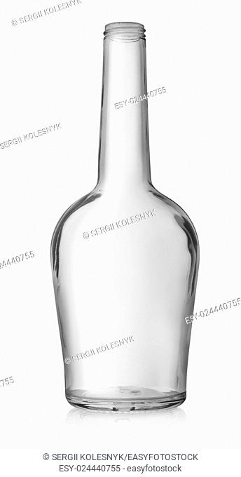 Empty bottle of cognac isolated on a white background
