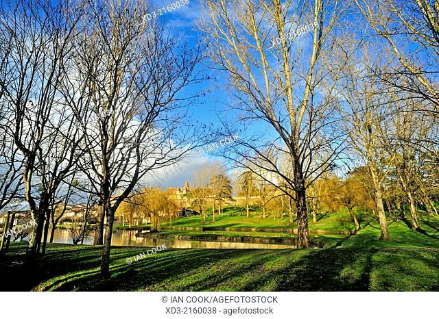 municipal park with Ducal Castle, Lauzun, Lot-et-Garonne Department, Aquitaine, France