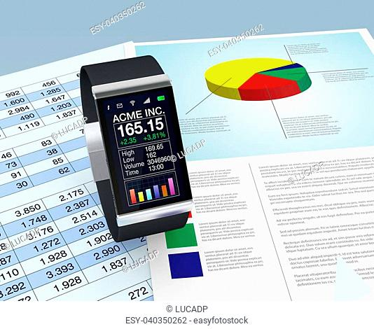 one smartwatch with a stock market application and paper worksheets (3d render)