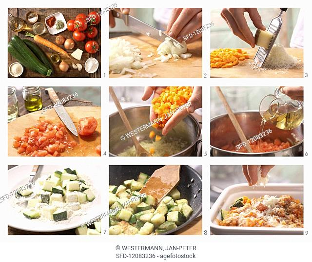 How to prepare courgette & tomato bake with Manchego