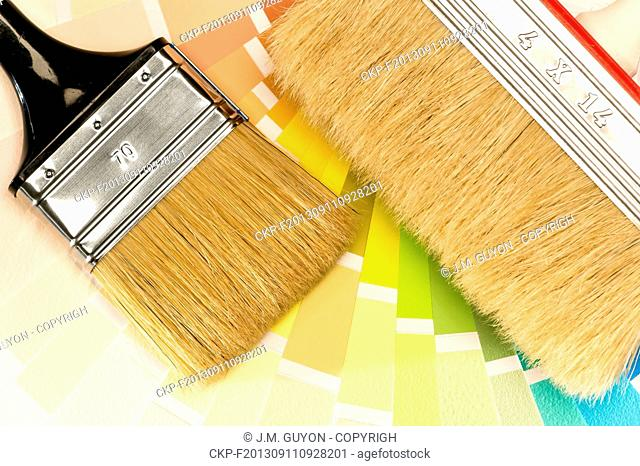 Painting equipments brush and color swatch