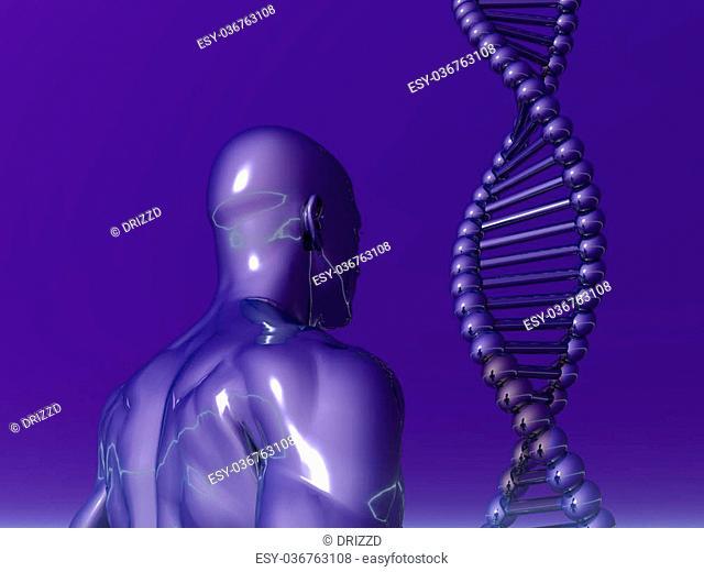 DNA strands and human body on blue background - 3d illustration