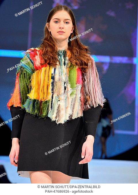 A model presents a design of the Hungarian designer Lilla Csefalvay of the Maholy-Nagy University Budapest during the fashion competition 'Apolda European...