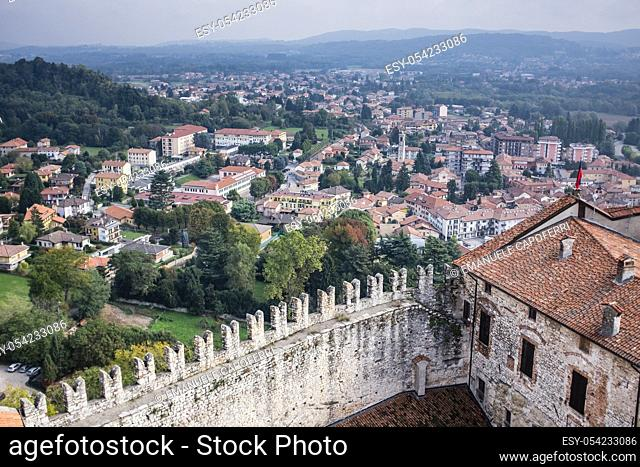 Overlooking the village of Angera from the medieval castle on Lake Maggiore, Rocca Borromeo, Angera, Italy