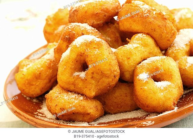Buñuelos (pancakes). Majorca, Balearic Islands. Spain