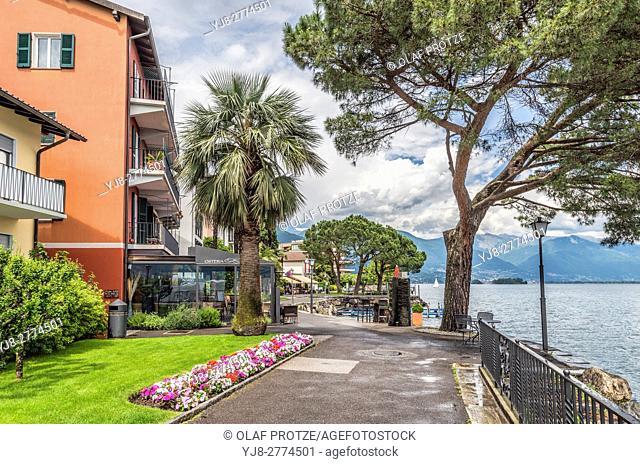 Waterfront of Brissago at Lago Maggiore, Ticino, Switzerland