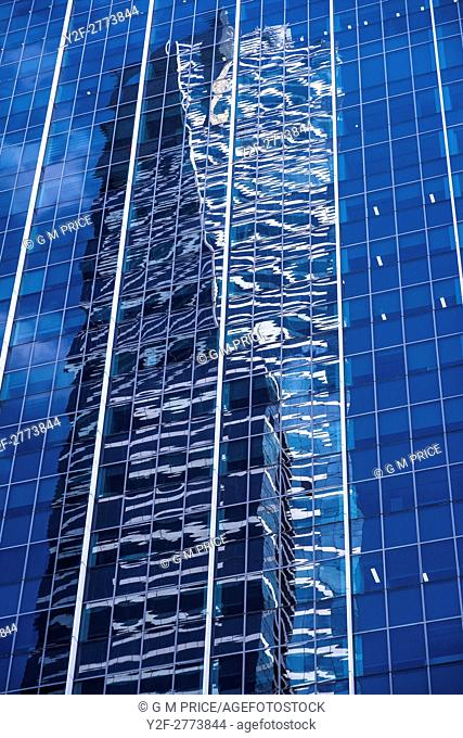 reflections in high rise building in Southbank, Melbourne
