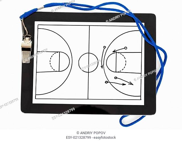 Soccer Tactic Diagram And Whistle On Digital Tablet