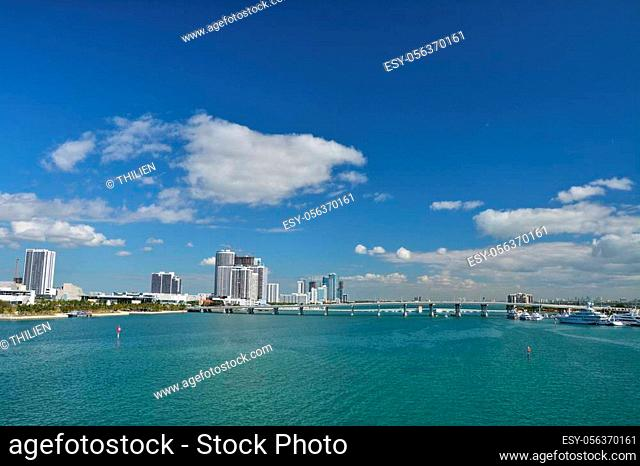 View from Port Boulevard on Biscayne Bay and Mac Arthur Causeway in Miami