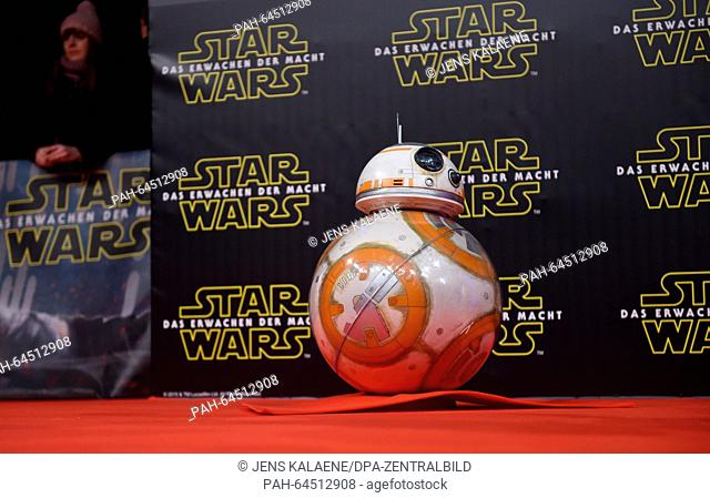 The Droid BB8 poses on the red carpet at the German premiere of the new film 'Star Wars:The Force Awakens' in the Zoo Palast cinema inBerlin,Germany