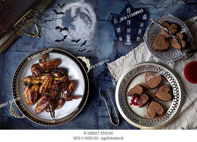 Halloween snacks: sticky backed swings and bleeding hearts