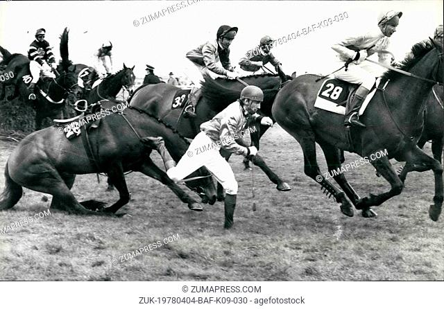 Apr. 04, 1978 - Lucius wins the Grand National: Lucius ridden by Bob Davies won the grand national at Aintree, 2nd was Sebastian V and 3rd Drumroan