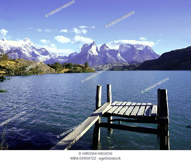 Chile, Patagonia, Torres Del Paine national-park, brine Pehoe bridge detail South America Latin America, destination, sight, nature, landscape