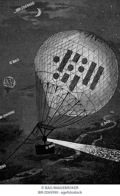 Transmission of signals with balloons, woodcut 1888