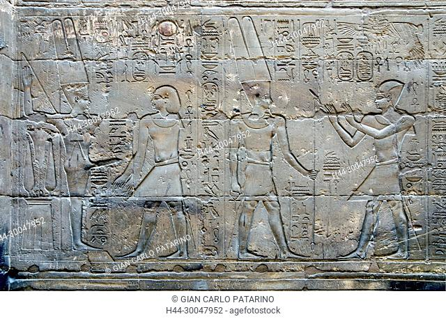 Luxor, Egypt. Temple of Luxor: the naos of Alexander the Great. The pharaoh with two gods