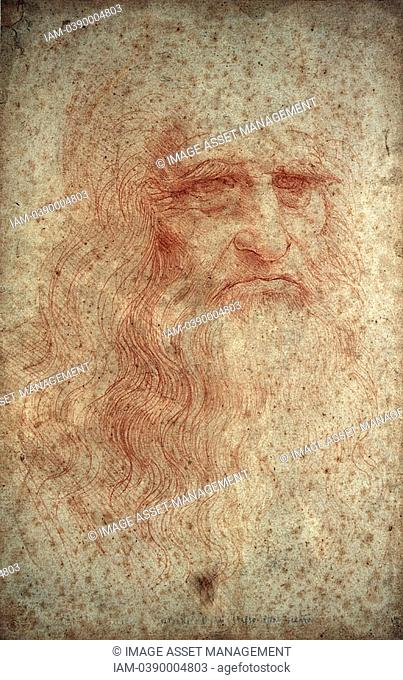 Leonardo da Vinci 1452-1519 Italian painter, sculptor, engineer, architect  Self portrait  Red chalk on paper  Biblioteka Real, Turin, Italy