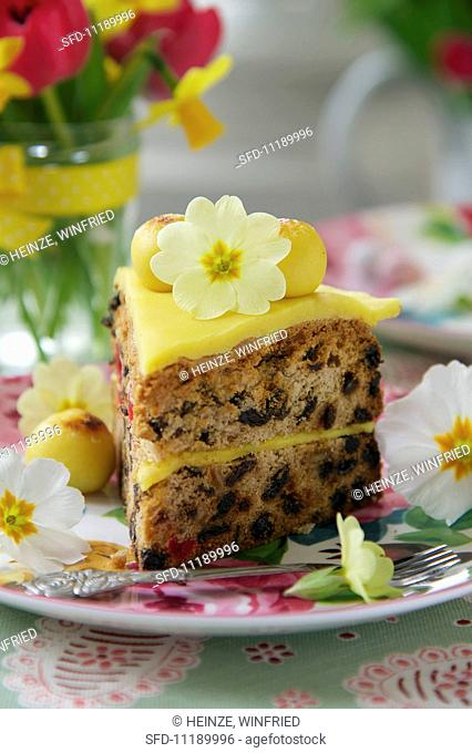 A slice of simnel cake (Easter cake, England)