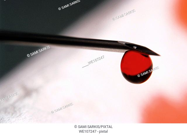 Drop of blood at the end of a syringe