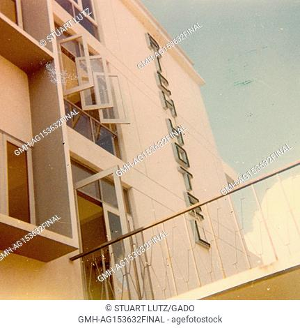 Side view of the facade of the Rich Hotel in Vietnam during the Vietnam War, 1968. ()