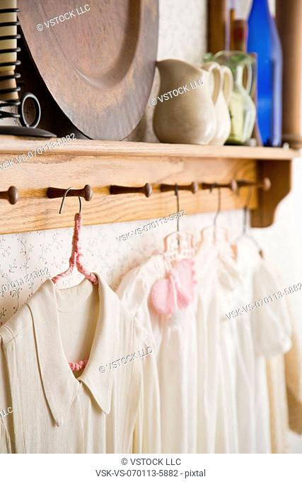 Antique shirts on hangers