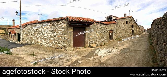 Street, panoramic view. San Juan del Olmo, Avila province, Castilla Leon, Spain