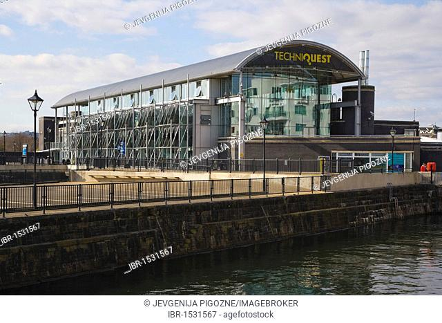Techniquest, science and discovery centre, over Graving Dock, Cardiff Bay, Cardiff, Caerdydd, South Glamorgan, Wales, United Kingdom, Europe