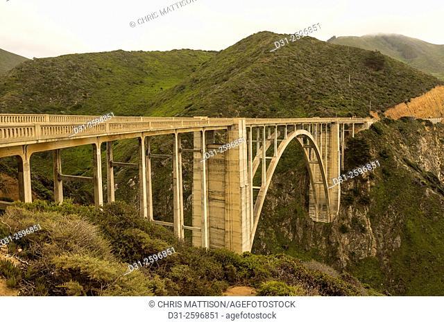 Bixby Bridge, Highway 1, Big Sur, California, in evening light. Built 1932