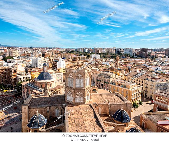 Panorama of city from top of the church tower of the Cathedral in Valencia