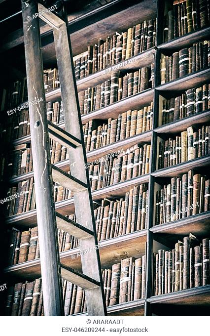 detail of old classic library, Ireland