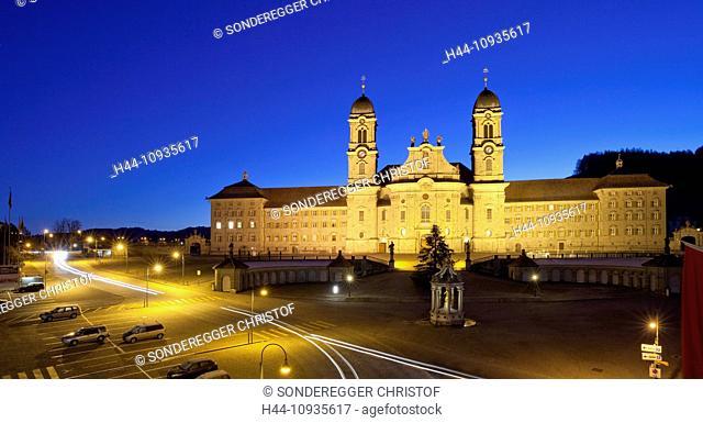 Cloister, Einsiedeln, autumn, canton, SZ, Schwyz, central Switzerland, church, religion, night, dark, Switzerland, Europe