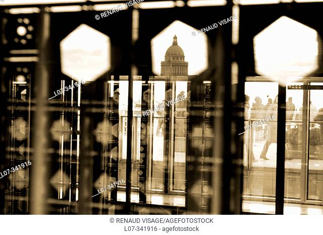 The Pantheon seen through the decorated windows of the Institute of the Arab World (Institut du Monde Arabe). Paris. France